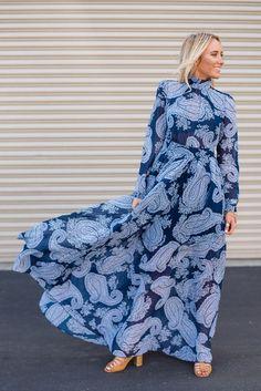 Head Turning High Neck Paisley Maxi Dress