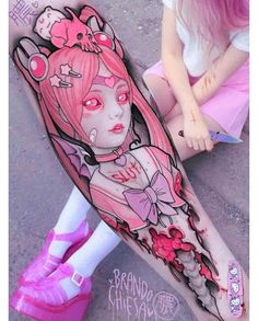 new school anime tattoo on arm