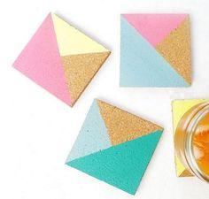 Posavasos de corcho con triángulos de colores Manualidades con fieltro, moldes y patrones Gratis | Pearltrees