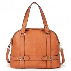 Roomy camel bowler bag with detailed hardware, a front zipper pocket, top handles and a removable shoulder strap