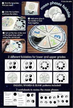 Moon phases foldable and worksheets--Owl Moon