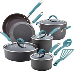 Joss and Main Rachel Ray 12 Piece Cucina Cookware Set in Agave Blue