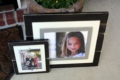 Black Frame, Wood Frame Distressed Black & Grey 8x10 Picture Frame with Double Wood Mats