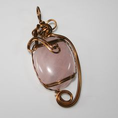 Therese - A Rose Quartz Pendant, Rose Quartz Jewelry, Wire Wrapped Pendant, Wire Wrapped Jewelry, Antique Copper Pendant by…