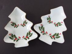 2 Vintage Christmas Dishes, Fine China Japan Christmas Holly Tree Shaped Dishes