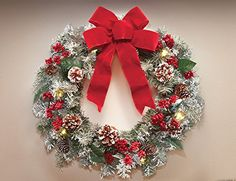 18 LED Lighted Frosted Faux Greenery Wreath Red Bow Berries Pinecones Winter Christmas Decor * You can find more details by visiting the image link.