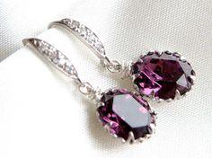 Amethyst Earring oval swarovski crystal with Sterling by gems4uuu, $26.99