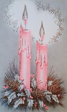 Vintage Christmas card with pink candles Christmas Candle Decorations, Christmas Candles, Noel Christmas, Modern Christmas, Christmas Crafts, Christmas Ornaments, Christmas Scenes, Christmas Greetings, Glass Ornaments