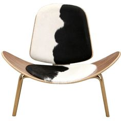The Matt Blatt Replica Hans Wegner Shell Chair Cowhide found on Polyvore