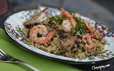 Shrimp with Mushroom & Sundried Tomato Cauliflower Couscous. Looks way more complicated than it is. Beautiful clean eating.