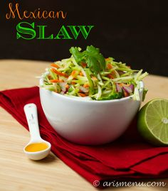 Mexican Slaw #vegan #glutenfree Best Side Dishes, Healthy Side Dishes, Side Dish Recipes, Mexican Slaw, Planning Menu, Macro Nutrition, Salad Recipes, Healthy Recipes, Dairy Free Recipes