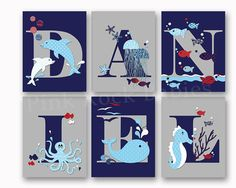 Sea life baby boy name art nautical personalized by PinkRockBabies