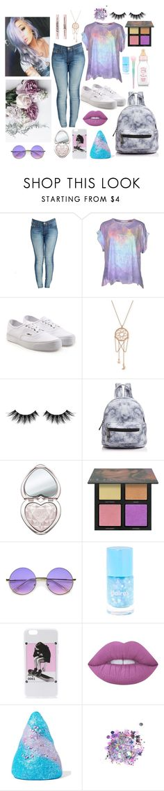 """run away girl"" by crybarbietears ❤ liked on Polyvore featuring True Religion, Wildfox, Vans, ChloBo, Huda Beauty, Street Level, ZeroUV, Lime Crime, Sugar Milk Co and The Gypsy Shrine"