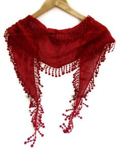 New cotton scarves with lace new design RED  by scarvesCHIC, $12.90