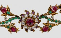 "ephemeral-elegance: "" Ruby, Diamond, and Emerald Giardinetti Necklace, ca. 1760 "" Giardinetti was a motif meaning ""little garden."""