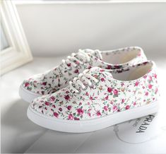 2014 Womens floral canvas shoes lace low floral sneakers flats canvas single shoes flat heel casual sport shoes - 15% off