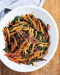 Carrot and Kale Healthy Lunch Salad | Martha Stewart Living - It's also colorful and crisp. #summersalad #kalesalad