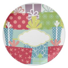 Gifts Galore Holiday / Birthday Plate - Messenger Dinner Plates - use a dry erase marker and post your message for each family member on their special day or holiday.  perfect for holiday desserts or birthday cake!  Display on  plateholder; Fun and original birthday or holiday gift idea.  Find more of this design on www.zazzle.com/drapestudio and other products in our shops www.cafepress.com/drapestudio and www.etsy.com/shop/drapestudio.