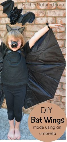 DIY Bat costume for kids - This bat outfit requires no sewing, and it's made from a recycled umbrella!  #batcostume #halloweencostumes #kidshalloweencostume