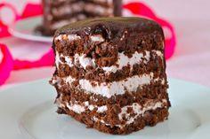 Flourless Chocolate Hazelnut Cake w/White Chocolate Mousse & Chocolate Ganache