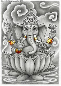 Diseño de RUFFFF en ZonaTattoos.com, tu comunidad sobre el mundo del Tatuaje. Ganesha Drawing, Lord Ganesha Paintings, Pencil Drawings For Beginners, Ganesh Tattoo, Sak Yant Tattoo, Ganesh Wallpaper, Krishna Art, Hindu Art, Fractal Art