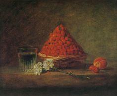 'Basket of Wild Strawberries'  v. 1760 by  Jean Siméon Chardin (1699-1779) - ジャン・シメオン・シャルダン《木いちごの籠》 1760年頃 油彩、画布 38×46cm 個人蔵