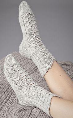 Lovely socks by Novita. Lace Socks, Knitted Slippers, Wool Socks, Crochet Slippers, Knit Crochet, Knitting Charts, Knitting Socks, Baby Knitting, Knitting Patterns
