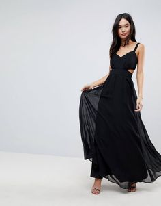Black side cut out long dress
