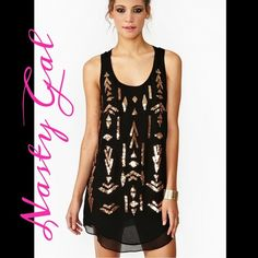 Nasty Gal Aztec Little Black Tank Dress Nasty Gal Aztec Little Black Tank Dress - purchased and never ended up wearing  tags are removed but never worn! This is perfect for the summer or to carry over into fall with fringe boots Nasty Gal Dresses