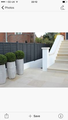 Fork Garden Design have used our Beige Sawn Sandstone Paving and matching Step Treads and Coping Stones to create a smart entrance to this home. Garden Paving, Garden Steps, Outdoor Paving, Large Backyard Landscaping, Pergola Patio, Landscaping Tips, Front Door Steps, Patio Slabs, Paved Patio