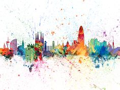 barcelona barcelona skyline skyline of paris spain gaudi urban watercolor spanish city skyline watercolour silhouette cityscape urban espana catalunya catalonia cataluna paint splashes