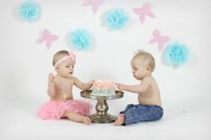 Here are my two at their cake smash photo session!  A blast was had by all =)