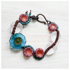 Summer flowers bracelet - czech bead bracelet - Irish linen cord bracelet by UtterlyLovelyStuff on Etsy https://www.etsy.com/listing/242692828/summer-flowers-bracelet-czech-bead
