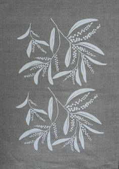 This 100% linen teatowel has been hand screenprinted (by me) using my Australian wattle design in white. The tea towel fabric is beautiful unbleached mid weight European linen with an attractive slub running through it. The print is produced using a reusable stencil and with water based fabric inks - an environmentally friendly product! The wattle is a much loved native Australian tree and the tag accompanying the tea towel includes a little bit of information about this beautiful plant…