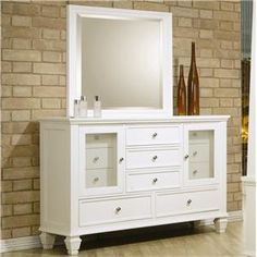 Sandy+Beach+Classic+11+Drawer+Dresser+and+Vertical+Dresser+Mirror
