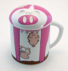 Topchoice Piggy Mug with Piggy-Shaped Lid
