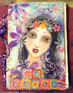 Pretty girl painted on my journal's cover using techniques learned in Suzi Blu's classes.