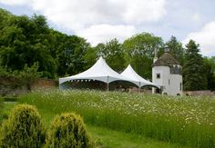 Summerhouse wedding in the walled garden at Homme House with the wild flower meadow in bloom Wild Flower Meadow, Wild Flowers, Walled Garden, Garden Wedding, Real Weddings, Wedding Ceremony, Gazebo, Bloom, Outdoor Structures