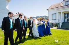 Lazzat Photography   North West Seattle-Tacoma Beach Wedding   Baby Blue Seashells Corrals   Wedding Bridal Party Summer Outdoor Session walking by Mukilteo Lighthouse