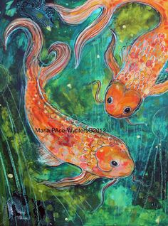 Two-Coy (Koi) By Maria Pace-Wynters Koi Painting, Spring Painting, Woman Painting, Silk Painting, Paint And Sip, Water Life, Mixed Media Artists, Goldfish, Sea Creatures