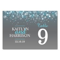 Blue grey custom bubbles Wedding table numbers
