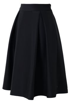Full A-line Midi Skirt in Black - New Arrivals - Retro, Indie and Unique Fashion