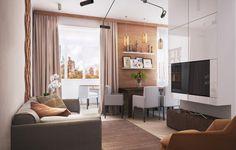 гостиная и столовая зона в интерьере квартиры-студии 40 кв. м.