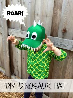 DIY Dinosaur Hat for Kids- This awesome dinosaur craft for preschoolers uses cutting and gluing skills to turn a plain hat into a fun hand made dino hat! From Lalymom