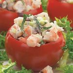 Shrimp Salad-Stuffed Tomatoes | a wonderful light lunch offering on a hot day, or as an appetizer to a BBQ Beef or Lamb dinner