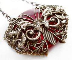"""""""Ruby Vines Butterfly"""" An enchanting woodland magical design. Federikas Vintage Filigree…The art of luxury in hand crafted jewelry! This original vintage filigree jewelry art design has been intricately hand crafted,"""