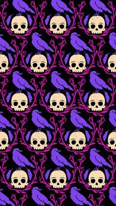 Crows skulls Crow on skull Halloween spooky cute creepy purple pink repeat patte… - Halloween Wallpaper Goth Wallpaper, Holiday Wallpaper, Halloween Wallpaper, Pattern Wallpaper, Wallpaper Backgrounds, Wallpaper Desktop, Phone Backgrounds, Bts Halloween, Halloween Skull