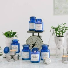 This beautiful collection of Paddywax Blue Apothecary Glass Candles come in 6 wonderful fragrances! Discover these wonderful scents by clicking below! #VintageMarketAndDesign #Apothecary #SoyWax