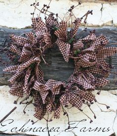 MINI RAG & BERRY WREATH / CANDLE RING * PRIMITIVE DOOR DECOR COUNTRY COTTAGE in Antiques | eBay