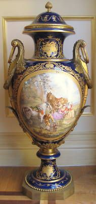 Sevres French 19th Century Hand Painted Porcelain Urn